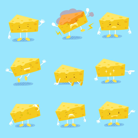 Cute cartoon cheese do different emotions with blue background Illustration