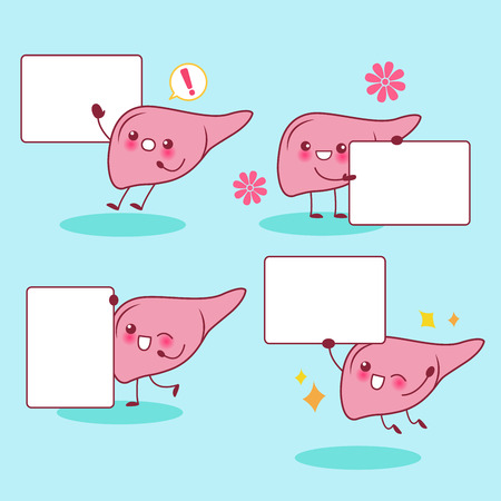 Cute cartonn liver take billboard and smile happily Illustration