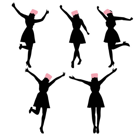Silhouette of woman wear vr and feel excited