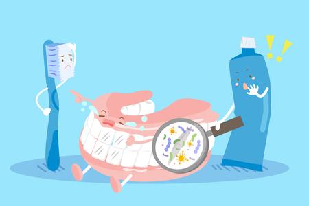 cute cartoon proteza na niebieskim tle z problemem ząb Ilustracje wektorowe