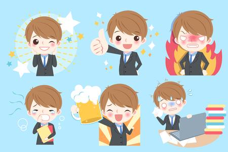 Cute cartoon business man do different emotion.