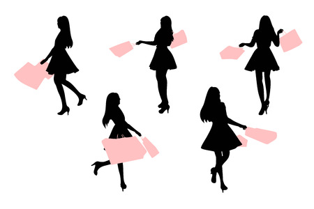 silhouette of woman take shopping bag with white background