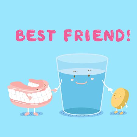 cute kreskówek denture z czyszczenia zębów tabletki