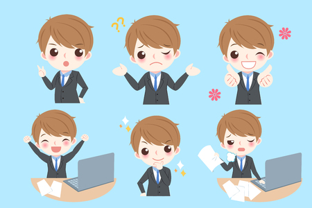 Set of cute cartoon businessman with different emotion on blue background