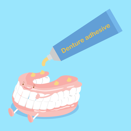 cute cartoon denture with adhesive on blue background Illustration