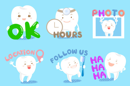 Artistic design of a set of cute cartoon tooth with web design text and icon.