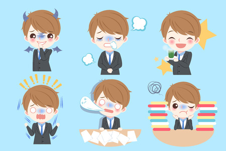 Set of cute cartoon businessman with different emotion