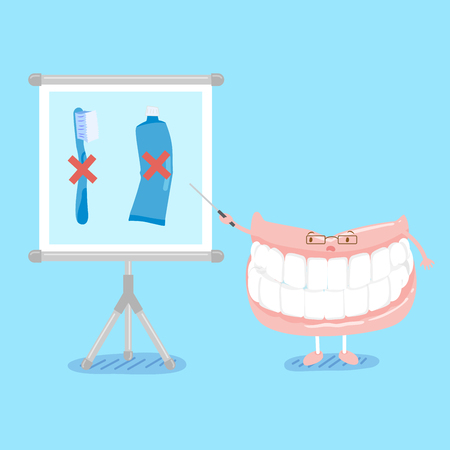 cute cartoon denture teach you not use brush and paste Illustration