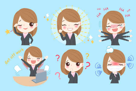 cute cartoon business woman do different emotion