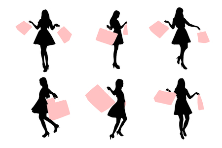 happy shopper: silhouette of woman take shopping bag with white background