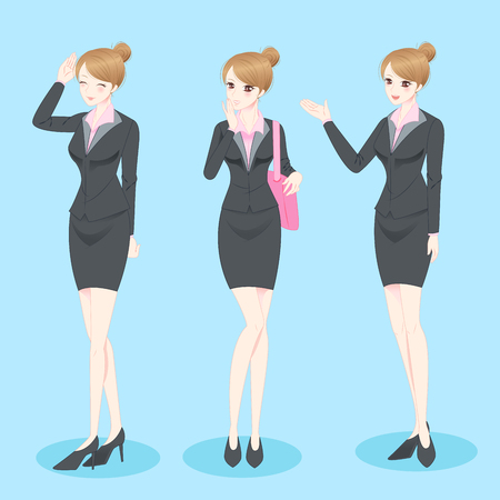 introduce: beauty cartoon business woman do gesture with blue background