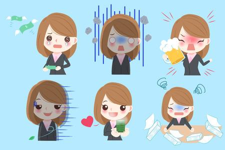 Empresaria de dibujos animados lindo hacer diferentes emociones con fondo azul
