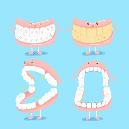 Cute cartoon denture on blue background with tooth problem.