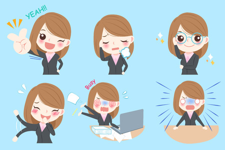 Set of cute cartoon business woman with different emotion Stock Vector - 74280965