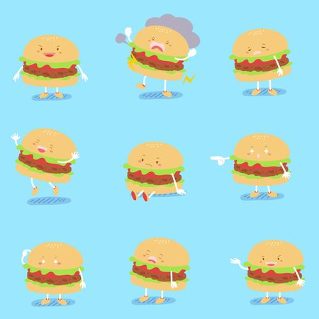 cute cartoon hamburger with different emotion on blue background