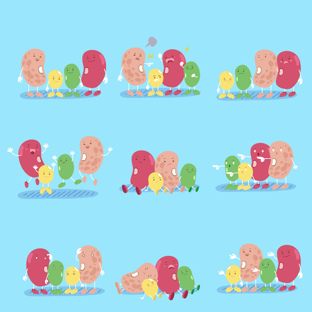cute cartoon beans with different emotion on blure background