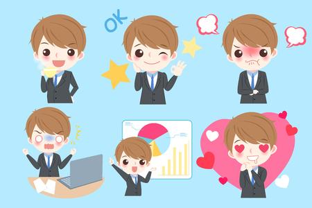 hombre de negocios de dibujos animados lindo hacer diferentes emociones Ilustración de vector