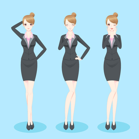cartoon businesswoman stand and do different gesture Illustration