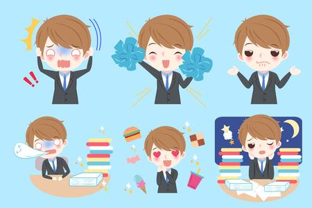 Mignon dessin animé homme d'affaires faire une émotion différente