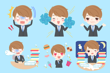 Cute cartoon business man do different emotion Illustration