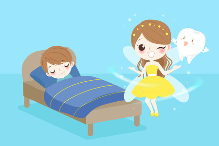 Cute cartoon tooth fairy with boy sleeping on the bad