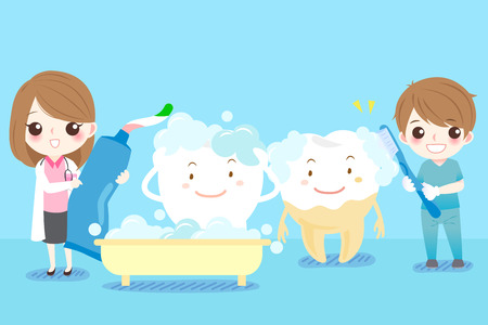 trainee: Cute cartoon dentist brush tooth happily with blue background