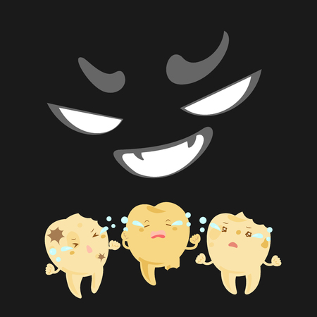 miserable: Cartoon tooth with decay problem feel fear in the dark