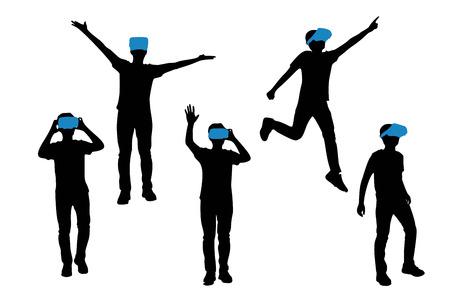 Silueta de hombre desgaste VR-gafas de auriculares con fondo blanco Ilustración de vector