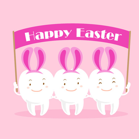 happy: Cute white cartoon tooth with happy easter
