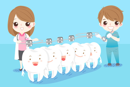 Cute cartoon dentist with white tooth and brace Vector Illustration