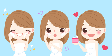 Cute cartoon skin care woman use lotion