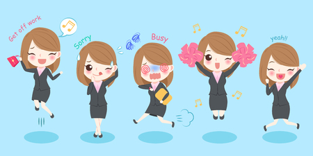 Cute cartoon business woman with different expression