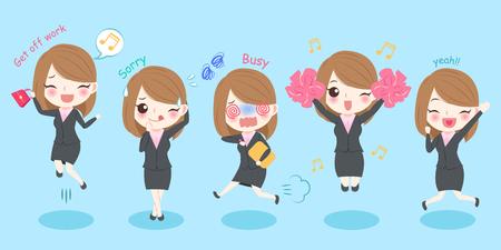 Femme d'affaires de dessin animé mignon avec une expression différente