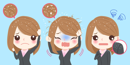 Cute cartoon business woman with dandruff problem Illustration
