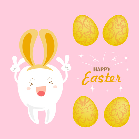 Cute white cartoon tooth with happy easter