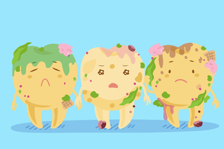 Cute cartoon tooth decay feel unhappy and pain Illustration