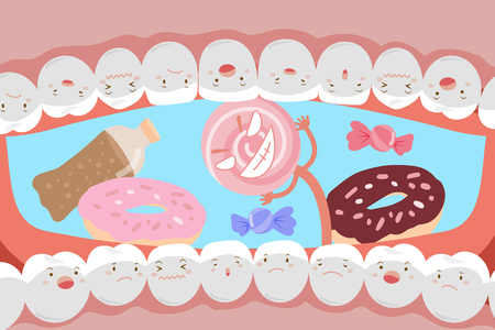Cute cartoon tooth with decay problem and feel sad