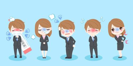 Nette Karikatur kranke Geschäftsleute mit blauem Hintergrund