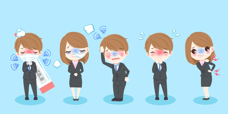 Cute cartoon sick business people with blue background