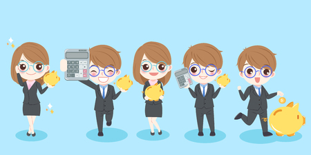 Cute cartoon business people with piggy bank and calculator on blue background Illustration