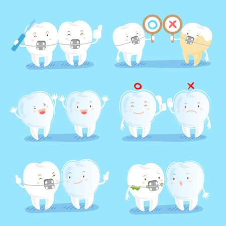 cartoon tooth wear brace with different gesture on blue background Çizim