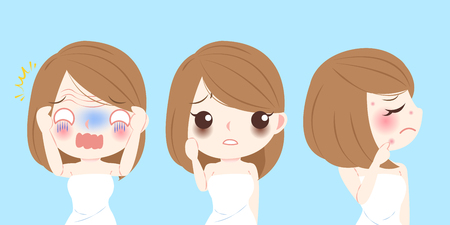 cute cartoon woman with face problem on blue background Иллюстрация