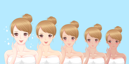 pustule: cartoon beauty woman with face whitening on blue background