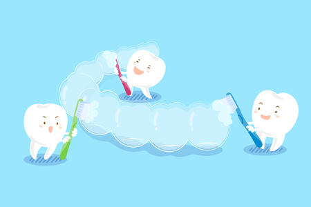 cute cartoon teeth brush invisible braces on blue background Illustration