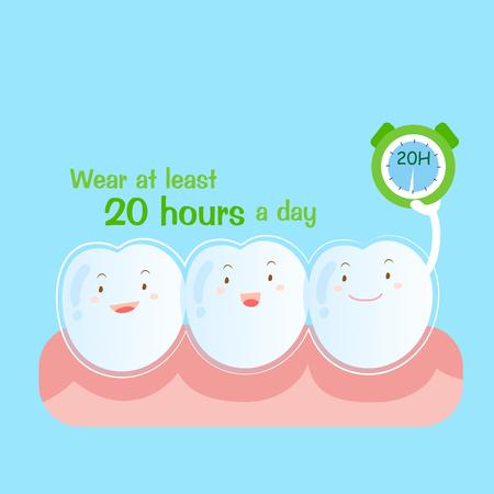 cute cartoon tooth wear brace at least 20 hours a day 版權商用圖片 - 75075086