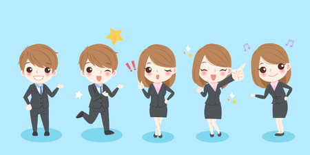 cute cartoon business people smile happily with blue background