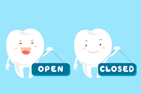 cute cartoon tooth take open and closed board
