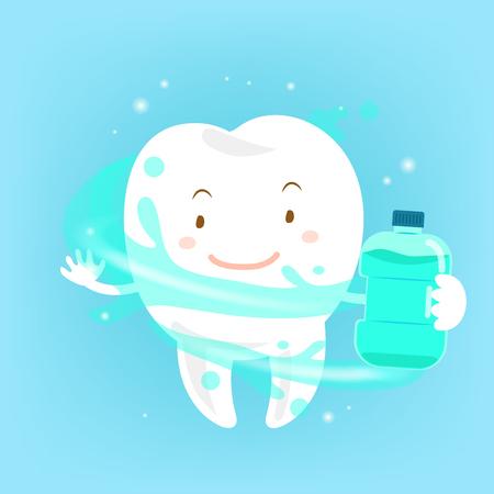 Diente de dibujos animados lindo con enjuague bucal sobre fondo azul
