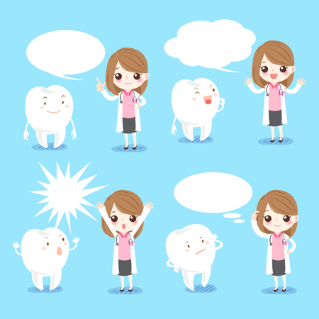 comunicacion oral: Cute cartoon female dentist with tooth and speech bubble Vectores