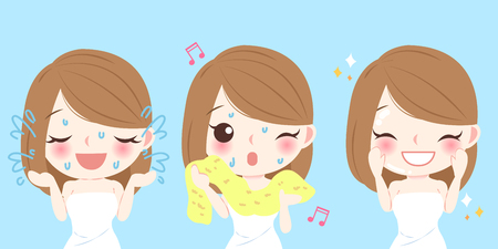 Beauty cartoon skin care woman washes her face